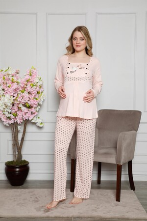 Angelino İç Giyim - Kadın %100 Pamuklu Hamile Pijama Takımı 4517 (1)