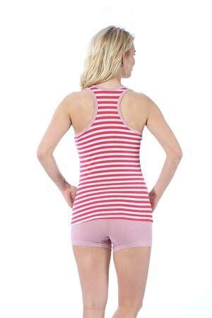 - Akbeniz Kadın Kalın Askılı Mercan Beyaz Renkli Şortlu Pijama Takımı 413 (1)