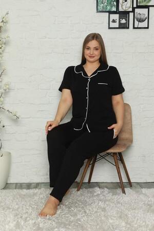 - Kadın Pamuklu Cepli Kısa Kol Büyük Beden Pijama Takım 202062 (1)