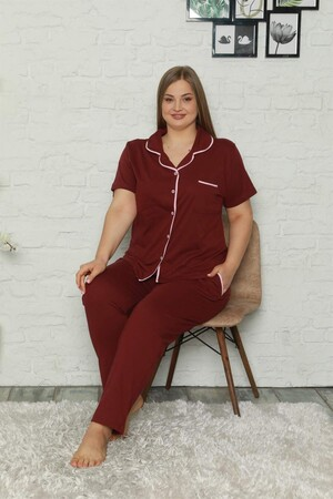 Angelino İç Giyim - Kadın Pamuklu Cepli Kısa Kol Büyük Beden Pijama Takım 202063 (1)