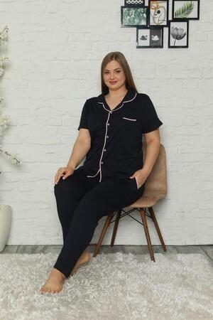 Angelino İç Giyim - Kadın Pamuklu Cepli Kısa Kol Büyük Beden Pijama Takım 202064 (1)