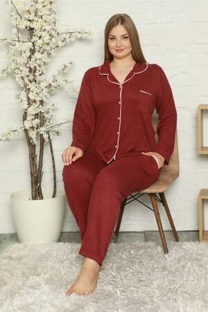 - Kadın Pamuklu Cepli Uzun Kol Büyük Beden Pijama Takım 202051 (1)