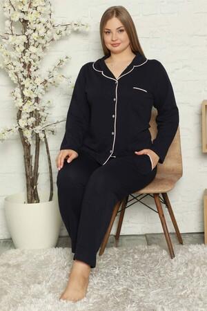 Angelino İç Giyim - Kadın Pamuklu Cepli Uzun Kol Büyük Beden Pijama Takım 202052 (1)