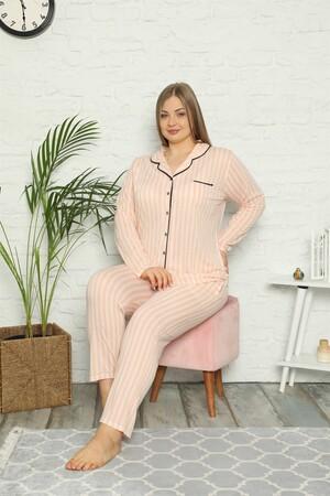 Angelino İç Giyim - Kadın Pamuklu Cepli Uzun Kol Büyük Beden Pijama Takım 202098 (1)