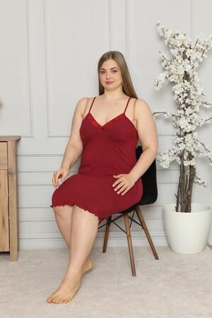Angelino İç Giyim - Kadın Pamuklu İp Askılı Büyük Beden Gecelik 987 (1)