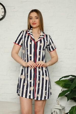 Angelino İç Giyim - Kadın Pamuklu Önden Düğmeli Gecelik 980 (1)