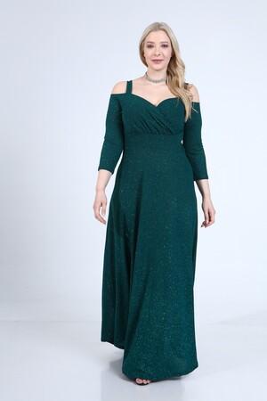 Angelino Butik - Angelino Büyük Beden Esnek Omuzlar Askılı Uzun Abiye Elbise 9005 (1)