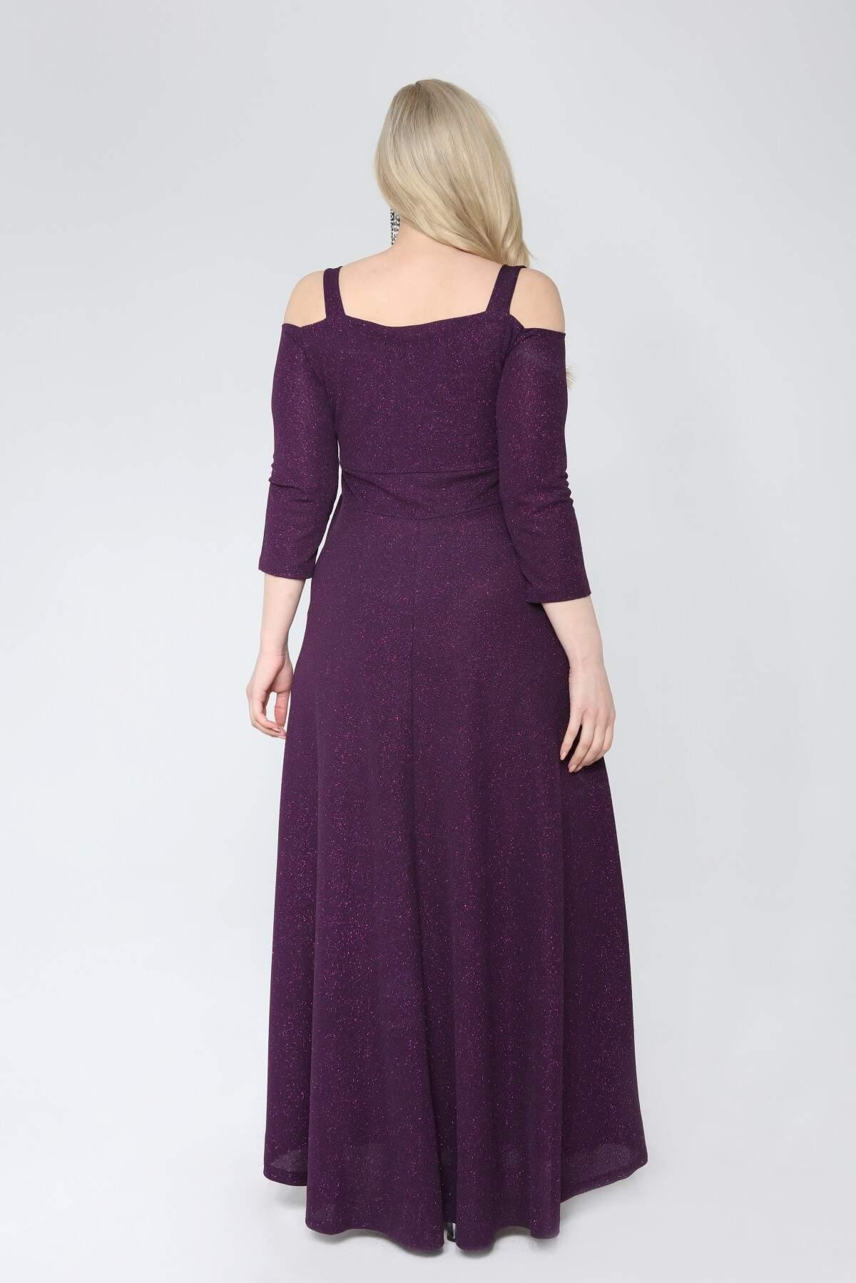 Angelino Büyük Beden Esnek Omuzlar Askılı Uzun Simli Abiye Elbise 9005