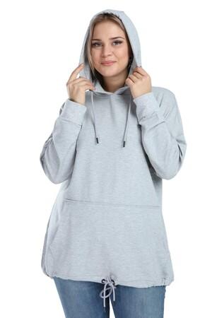 Angelino Butik - Angelino Büyük Beden Spor Giyim Kapüşonlu Üst Sweat 2546 (1)