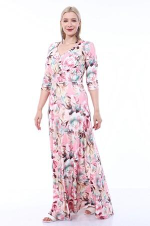 Angelino Butik - Angelino Büyük Beden Kolları Pelerin Esnek Sandy Gül Desenli Elbise 93-7713 (1)