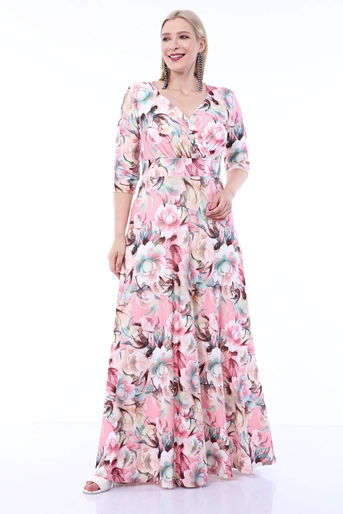 Angelino Büyük Beden Kolları Pelerin Esnek Sandy Gül Desenli Elbise 93-7713