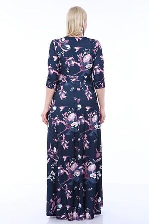 Angelino Butik - Angelino Büyük Beden Kolları Pelerin Esnek Sandy Lacivert Çiçekli Elbise 93-7713 (1)