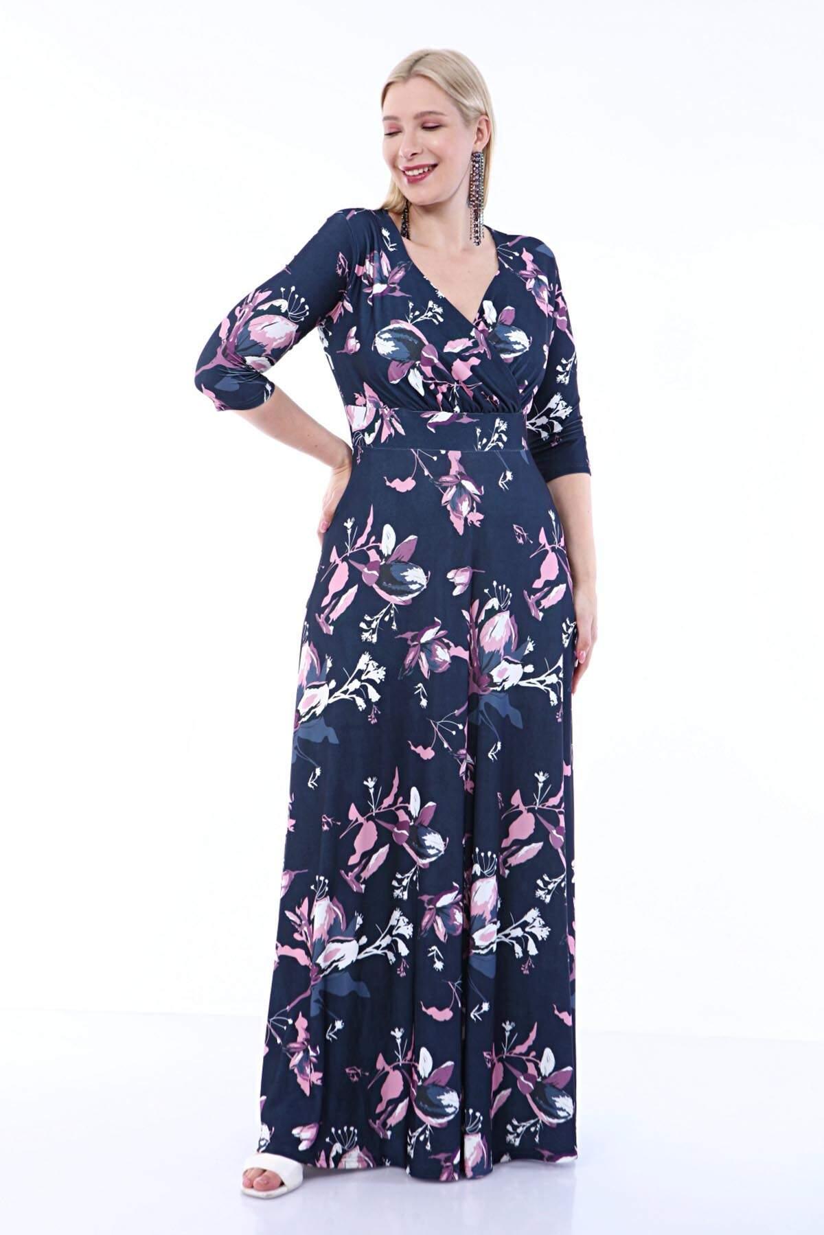 Angelino Büyük Beden Kolları Pelerin Esnek Sandy Lacivert Çiçekli Elbise 93-7713