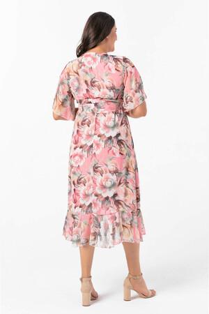 Angelino Butik - Angelino Büyük Beden Kolları Pelerin Esnek Tül Gül Desenli Elbise NV7713 (1)
