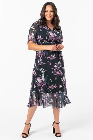Angelino Butik - Angelino Büyük Beden Kolları Pelerin Esnek Tül Lacivert Çiçekli Elbise NV7713 (1)