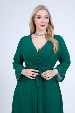 Angelino Butik - Angelino Büyük Beden Kruvaze Yaka Kollu Şifon Elbise NV4001 (1)