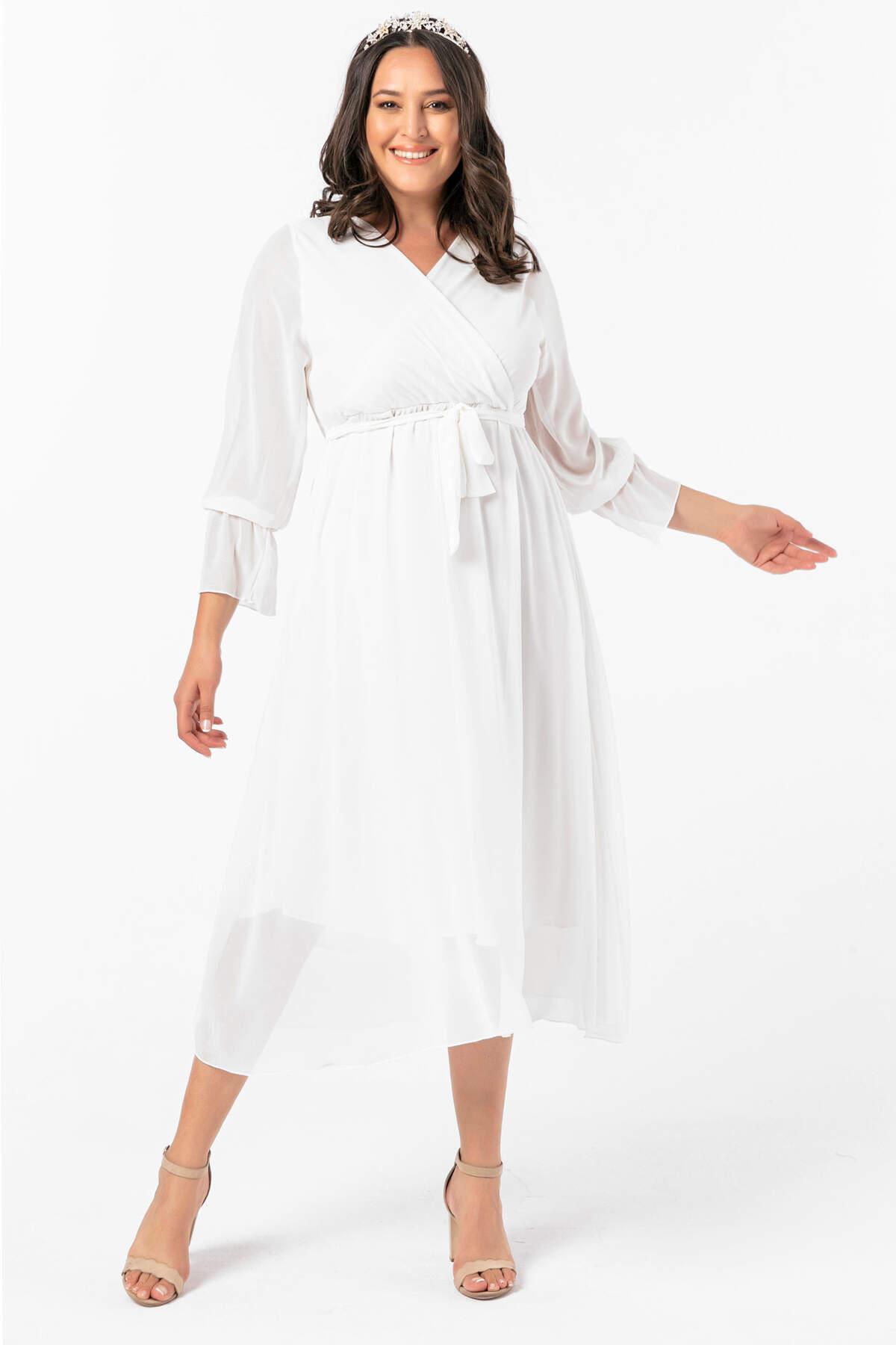 Angelino Büyük Beden Kruvaze Yaka Kollu Şifon Elbise nv4001 Beyaz