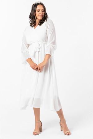 Angelino Butik - Angelino Büyük Beden Kruvaze Yaka Kollu Şifon Elbise nv4001 Beyaz (1)