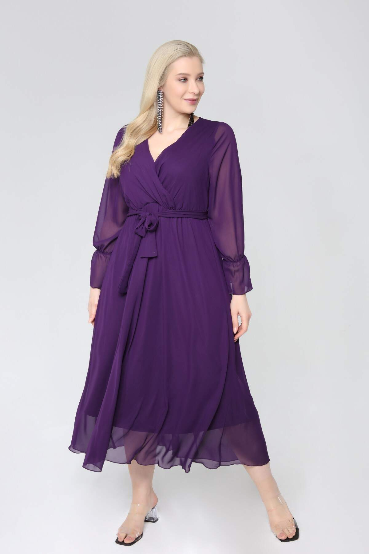 Angelino Büyük Beden Kruvaze Yaka Kollu Şifon Elbise nv4001 Mor