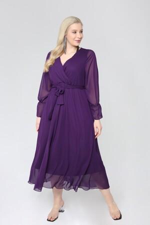 Angelino Butik - Angelino Büyük Beden Kruvaze Yaka Kollu Şifon Elbise nv4001 Mor (1)