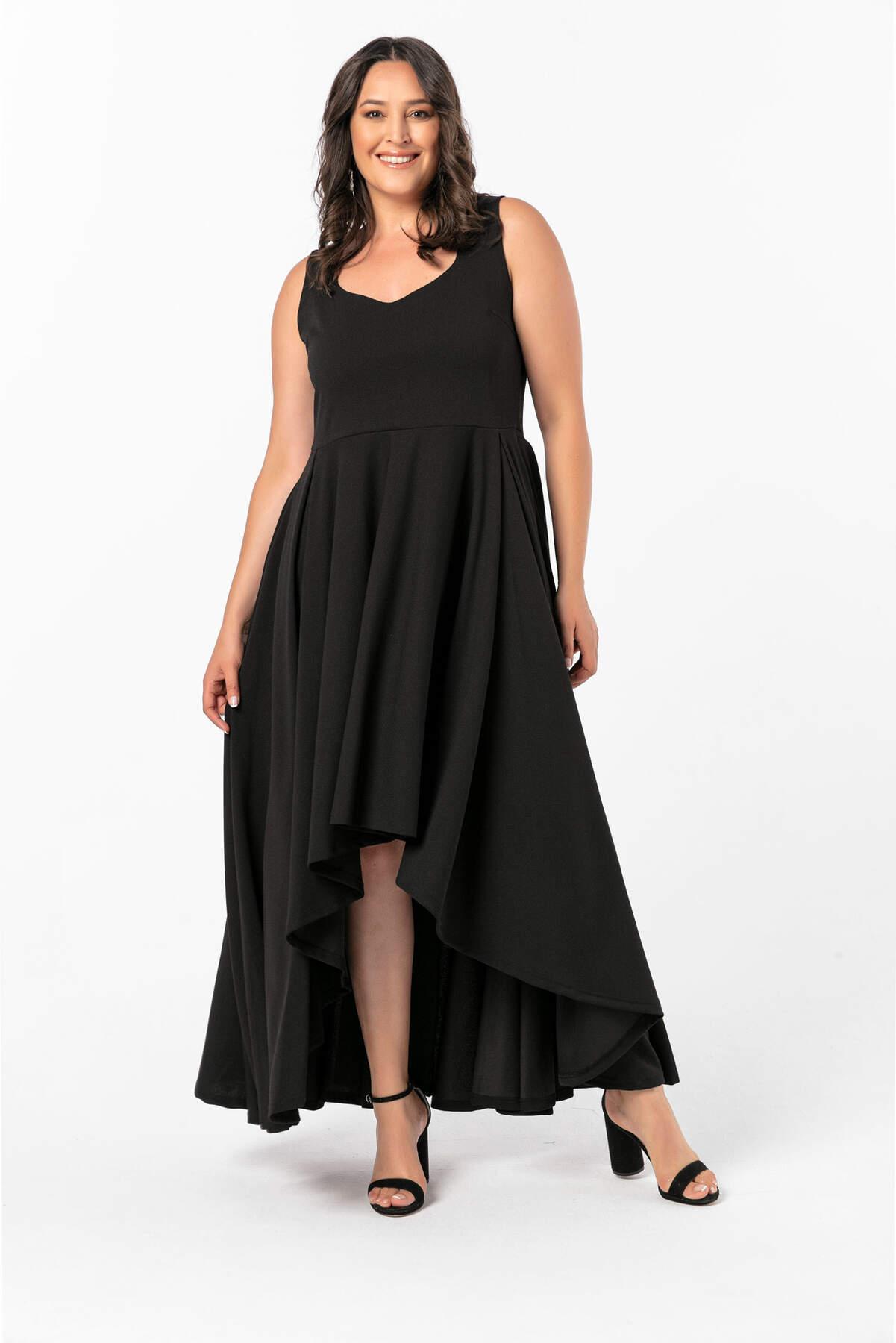 Angelino Büyük Beden Önü Kısa Arkası Uzun Prenses Elbisesi NV4009-9