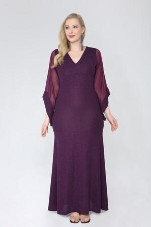Angelino Butik - Angelino Büyük Beden Simli Esnek Uzun Abiye Elbise 91-2234 (1)