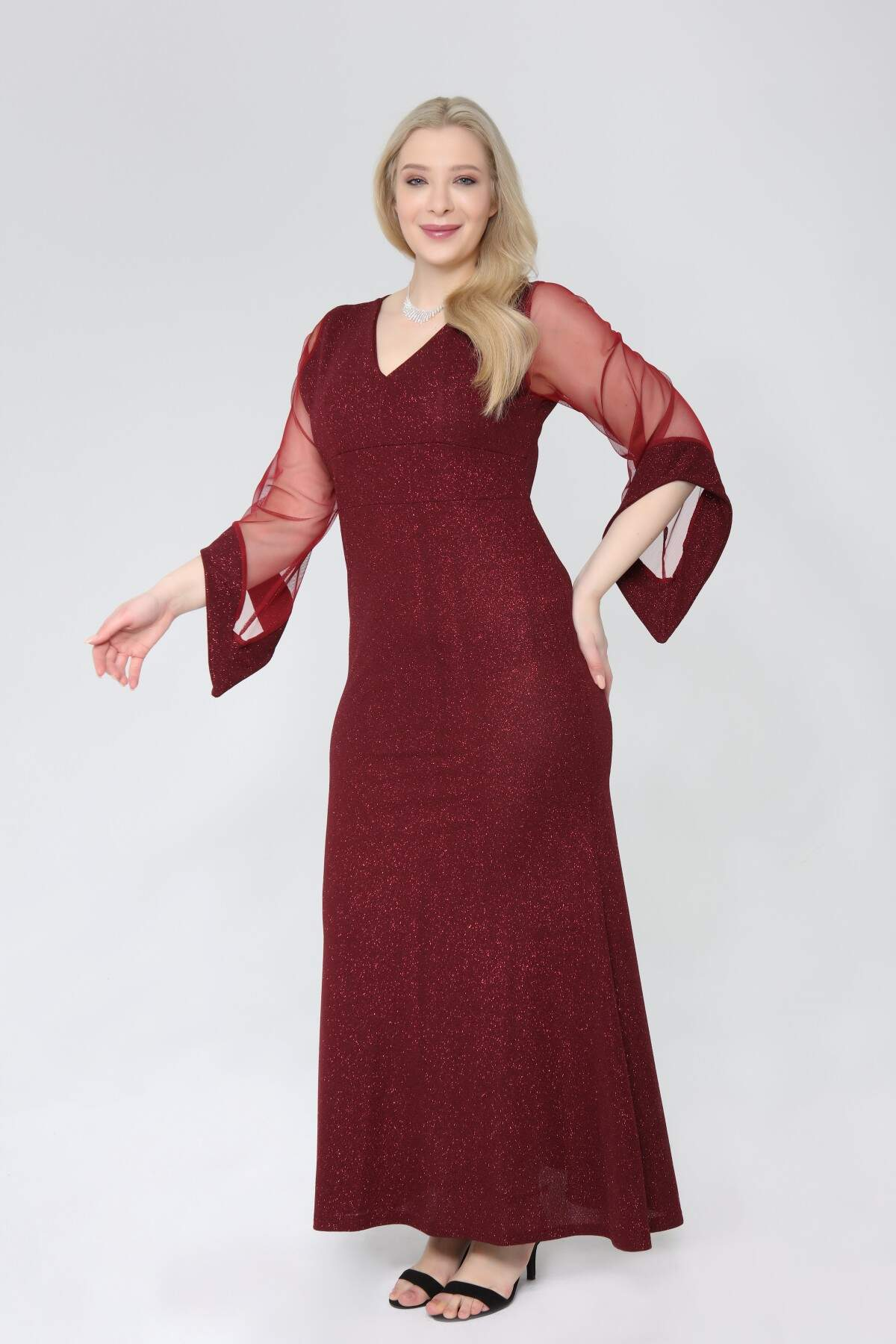 Angelino Büyük Beden Simli Esnek Uzun Abiye Elbise 91-2234