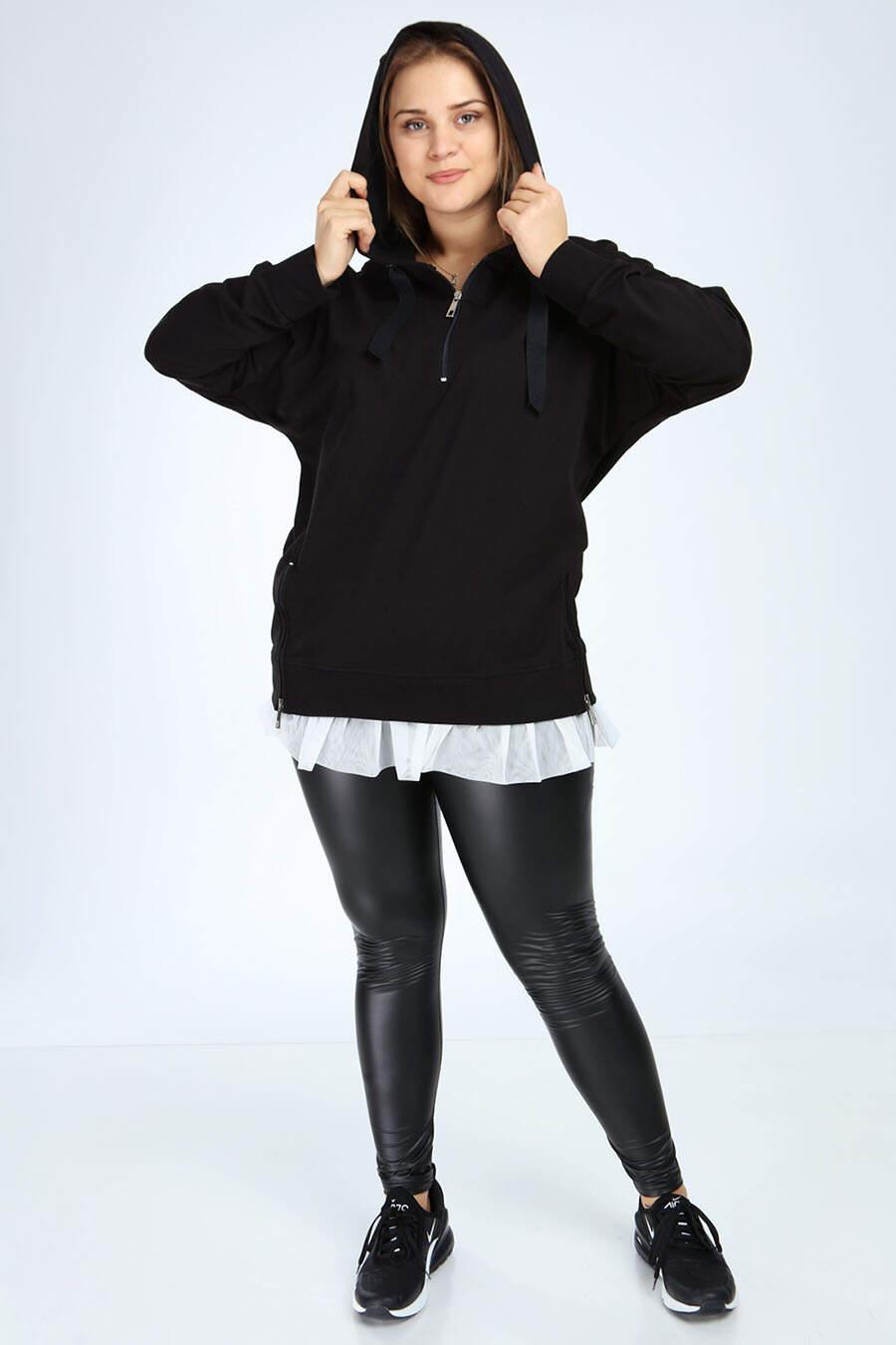 Angelino Büyük Beden Siyah Spor Giyim Altı Tül Tasarım Sweat Üst 2526