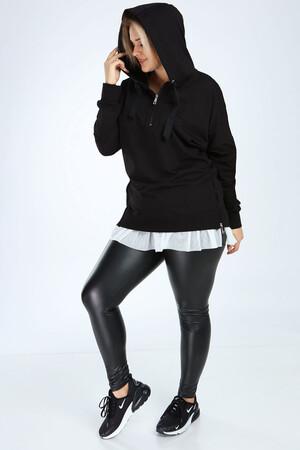 Angelino Butik - Angelino Büyük Beden Siyah Spor Giyim Altı Tül Tasarım Sweat Üst 2526 (1)