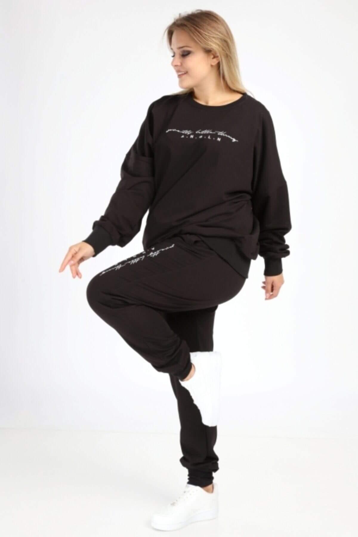 Angelino Büyük Beden Siyah Spor Giyim Eşofman Takım 2525