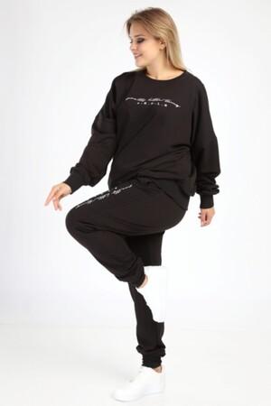Angelino Butik - Angelino Büyük Beden Siyah Spor Giyim Eşofman Takım 2525 (1)