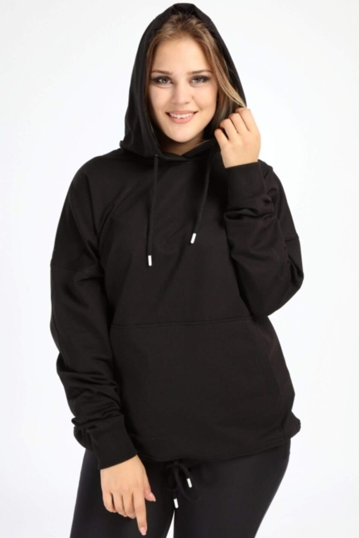 Angelino Büyük Beden Siyah Spor Giyim Kapüşonlu Üst Sweat 2546