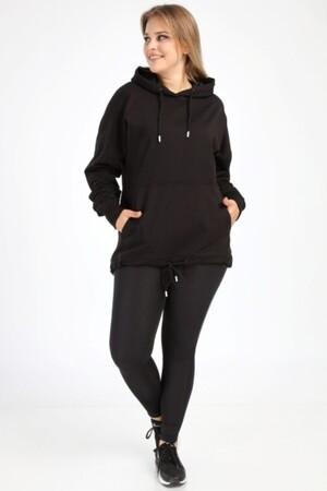 Angelino Butik - Angelino Büyük Beden Siyah Spor Giyim Kapüşonlu Üst Sweat 2546 (1)