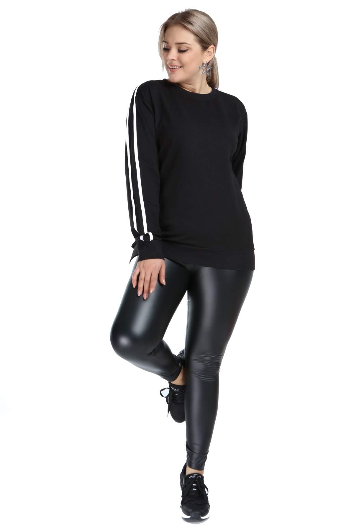 Angelino Büyük Beden Siyah Spor Giyim Kolları Şeritli Sweat Üst 2534