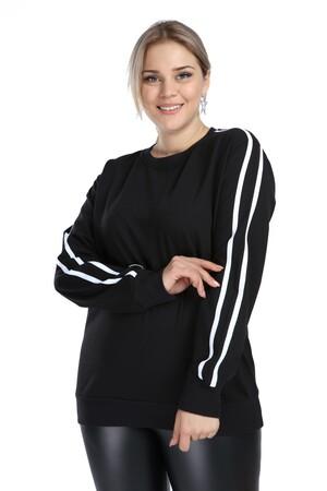Angelino Butik - Angelino Büyük Beden Siyah Spor Giyim Kolları Şeritli Sweat Üst 2534 (1)