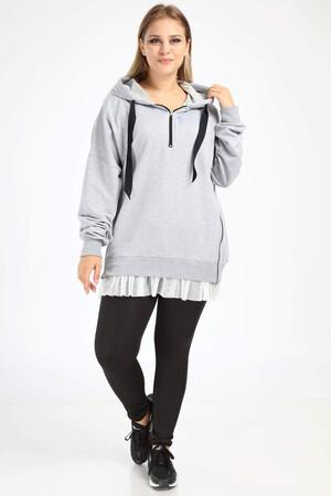 Angelino Butik - Angelino Büyük Beden Spor Giyim Altı Tül Tasarım Sweat Üst 2526 (1)
