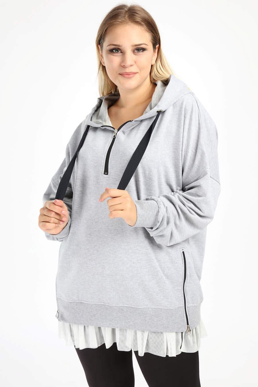 Angelino Büyük Beden Spor Giyim Altı Tül Tasarım Sweat Üst 2526