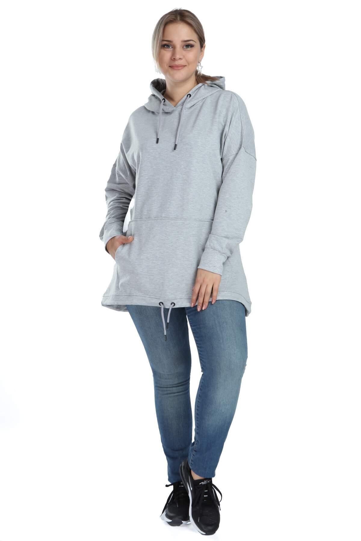 Angelino Büyük Beden Spor Giyim Kapüşonlu Üst Sweat 2546