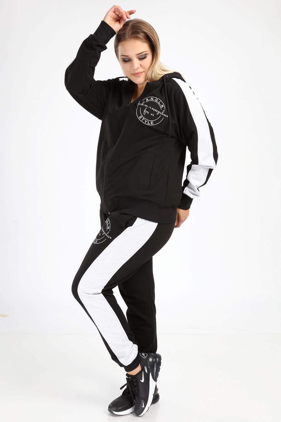 Angelino Büyük Beden Spor Giyim Nakışlı Kapüşonlu Eşofman Takımı 2527