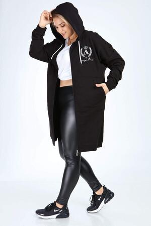 Angelino Butik - Angelino Büyük Beden Spor Giyim Uzun Kapüşonlu Fermuarlı Sweat 2549 (1)