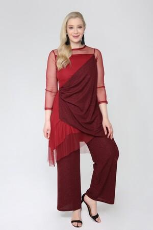 Angelino Butik - Angelino Büyük Beden Tunik Pantolon Simli Takım 91-7894 (1)