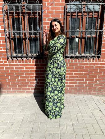 Angelino Butik - Angelino Büyük Beden Yeşil Çiçekli Esnek Abiye Elbise NV2408 (1)