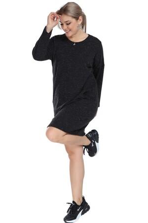 Angelino Butik - Angelino Genç Büyük Beden Kışlık Yumoş Antrasit Elbise AS06 (1)