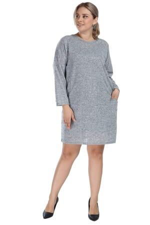 Angelino Butik - Angelino Genç Büyük Beden Kışlık Yumoş Elbise Gri AS06 (1)