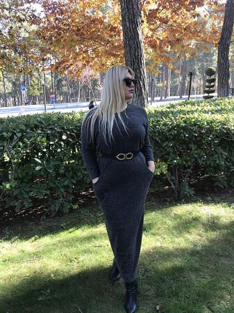 Angelino Butik - Angelino Genç Büyük Beden Kışlık Yumoş Uzun Cepli Elbise AS06U (1)