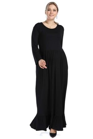 Angelino Butik - Angelino Genç Büyük Beden Uzun Kollu Viskon Elbise as01 (1)