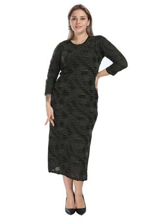 Angelino Butik - Angelino Genç Büyük Beden Yanı Yırtmaçlı Uzun Siyah Elbise AS02 (1)