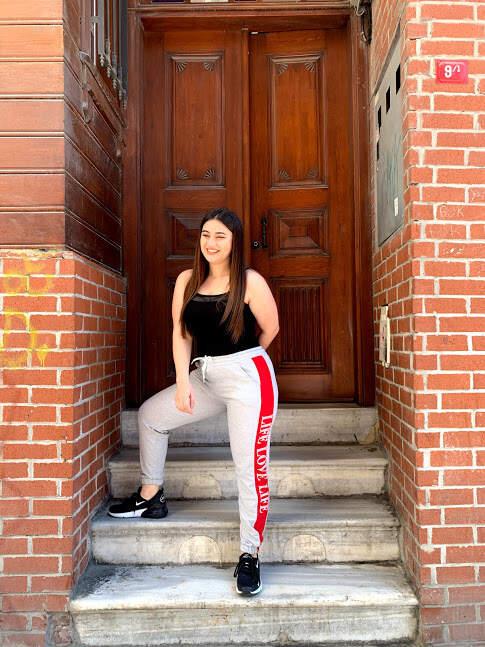 Angelino Kadın Kırmızı Şeritli Cepli Gri Eşofman E651