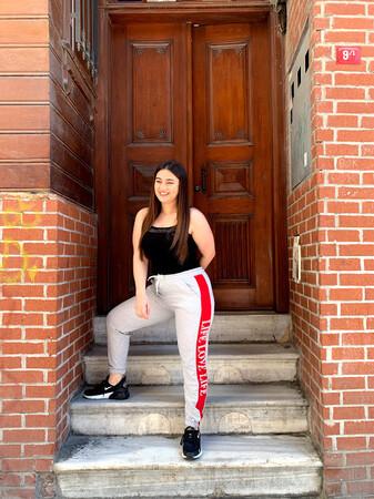 Angelino Butik - Angelino Kadın Kırmızı Şeritli Cepli Gri Eşofman E651 (1)