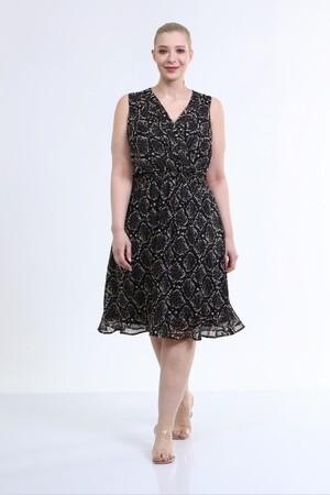 - Astarlı Kolsuz Şifon Elbise (1)